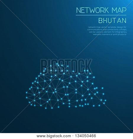 Bhutan Network Map. Abstract Polygonal Map Design. Internet Connections Vector Illustration.