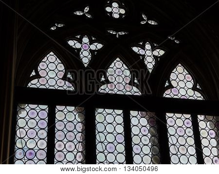 Ancient Gothic Stained Glass Window In Gothic Doge's Palace In St Mark's Square In Venice