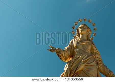 Madonna Golden Statue Perfect Bronze Replica in Milan Italy