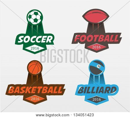 Sport logos or badges. Set of Soccer Football basketball billiards Badge Logo Design Templates. Sport Team Identity Vector Illustrations isolated on white Background.