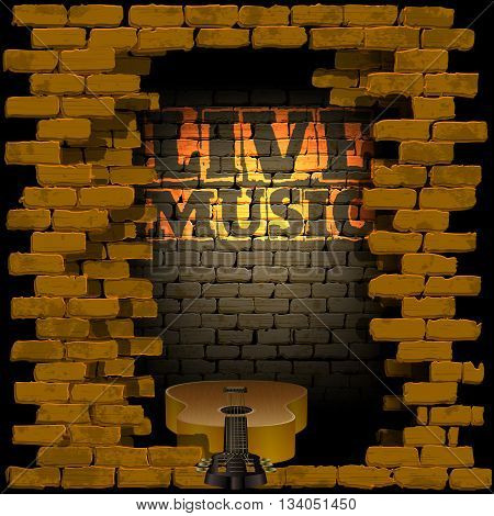 Vector illustration of an old brick wall with a breakthrough acoustic guitar and the words live music and light. Can be used with any image or text on a black background.