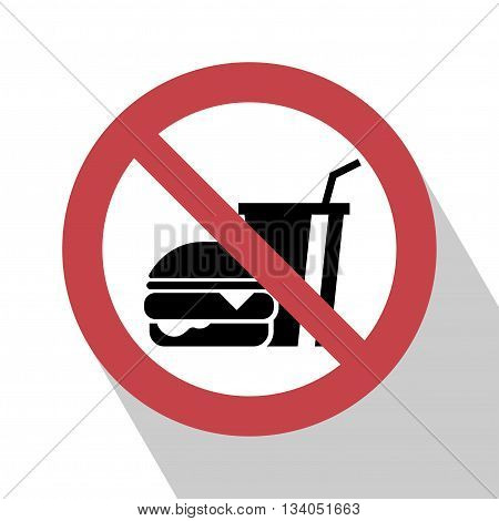 No food sign. No food sign red prohibition. All in a single layer. No food allowed symbol isolated on white background. Stop flat symbol. No food sign with Long Shadow. No eating vector sign.