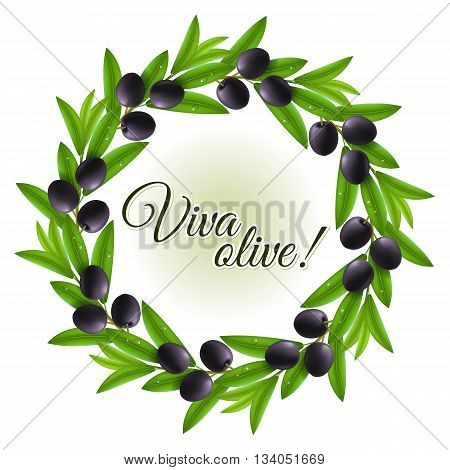 Round wreath of wet leaves and black olives with copy space
