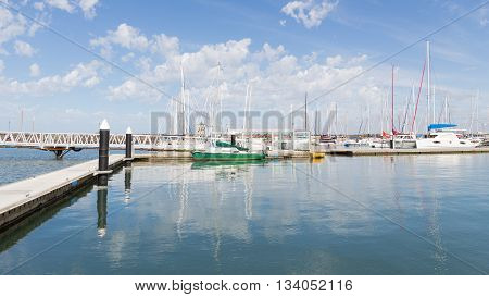 Melbourne - March 3 2016: Lots of yachts at a wooden pier in the bay of Port Phillip in Victoria March 3 2016 Melbourne Australia