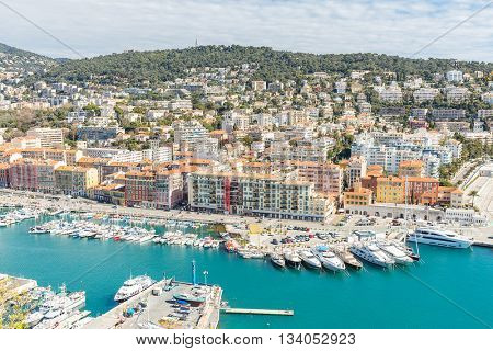 France Nice Cote d'Azur with mediterranean beach sea