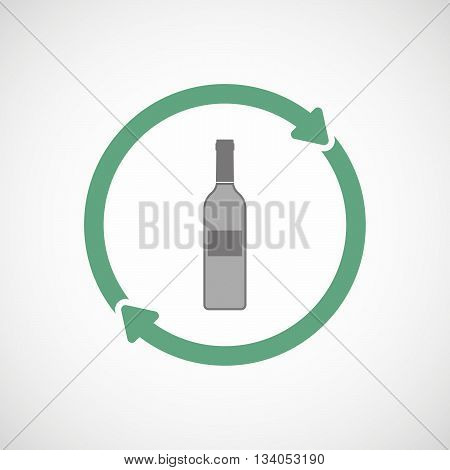 Reuse Line Art Sign With A Bottle Of Wine