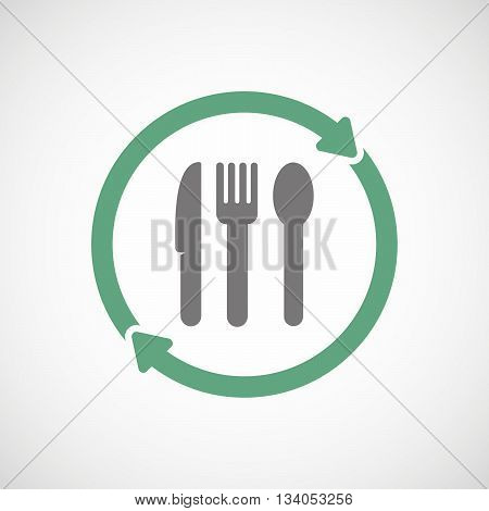 Reuse Line Art Sign With Cutlery