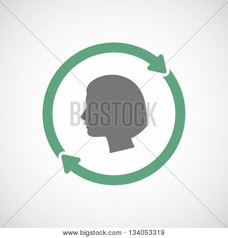 Reuse Line Art Sign With A Female Head