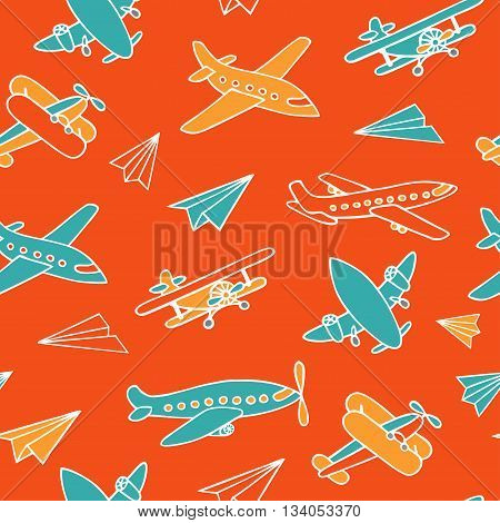 Seamless pattern of flying aircraft. Vector image of aircraft. Colorful airplanes on a orange background. White outline.