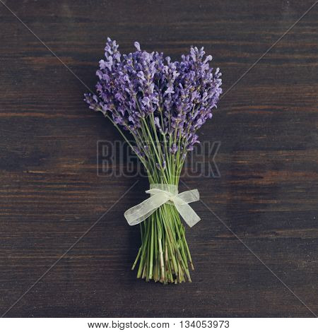 Lavander Flowers Bouquet On Wooden Background