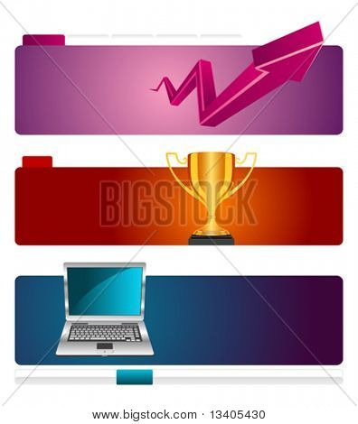 Web site header vector template set 4