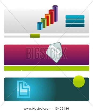 Web site header vector template set 6