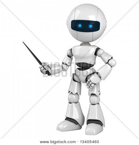 Funny white robot stay with pointer