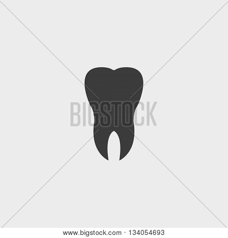 Tooth Icon in a flat design in black color. Vector illustration eps10