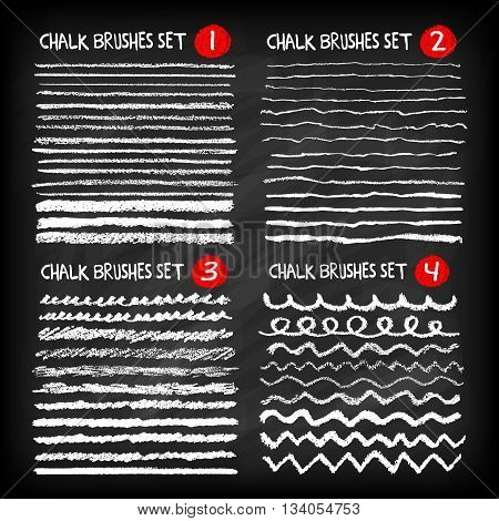 Mega set of chalk brushes. Handmade design elements on chalkboard background. Grunge vector illustration.