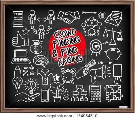 Crowd funding and Fond Raising Doodle set on chalkboard. Start up, launching of new project concept. Graphic elements - thumb up, alarm clock, rocket, light bulb idea, handshake, puzzle pieces. Vector illustration