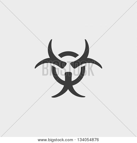 Biohazard symbol sign icon in a flat design in black color. Vector illustration eps10