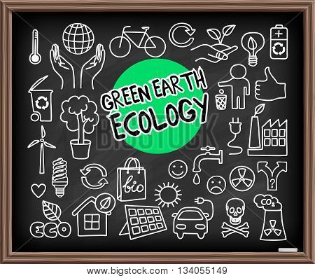 Green Earth Ecology doodle set. Hand drawn graphic elements on chalkboard. Hands holding planet Earth, energy saving light bulb, solar panel, factory air pollution, recycle bio and eco symbols. Vector illustration.