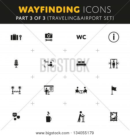 Vector Wayfinding Icons Traveling and Airport Part of Set