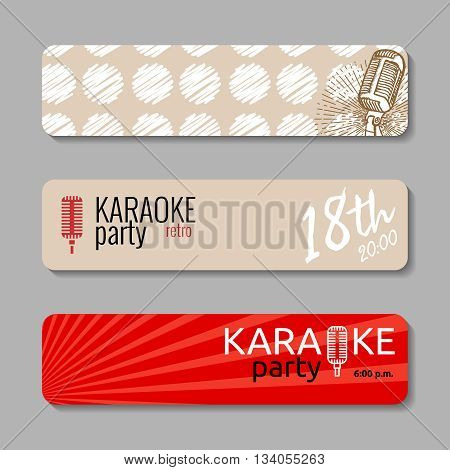 Retro microphone backgrounds. Suitable for web banner, ad, invitation to karaoke night party. Vintage design element