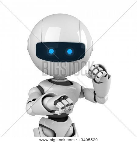Funny white robot stay