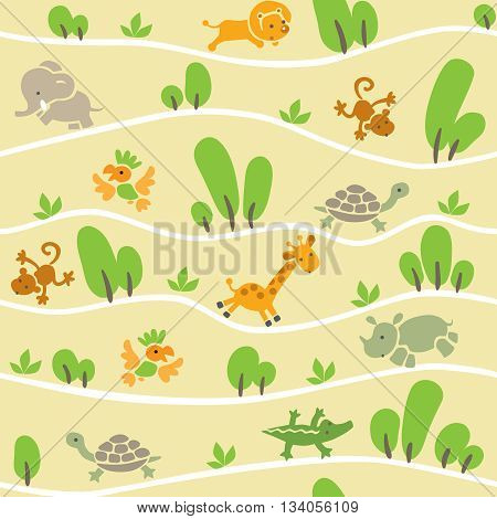 Seamless pattern with funny running african animals in savannah. Children vector illustration