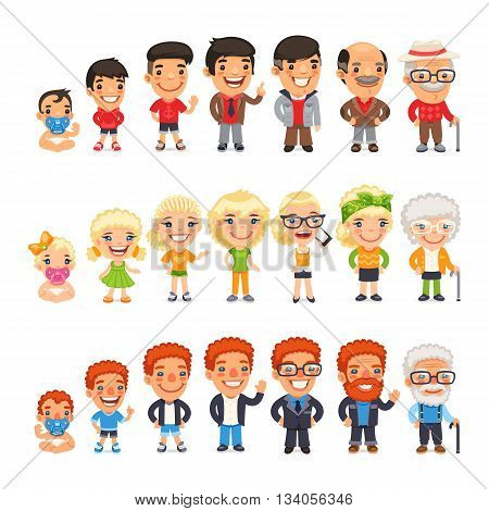 Three characters generations at different ages. Man and woman aging set. Baby, child, teenager, young, adult, old. Isolated on white background. Clipping paths included.