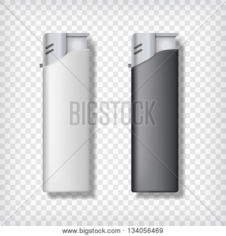Two lighters mockup, in black and white