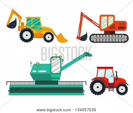 Excavators, tractor, combine on white background. Agricultural Excavators, tractors, combine. Agricultural vehicle and farm machine-business concept. Agriculture machinery in flat style.