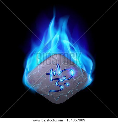 Ancient quadrangular stone with magic rune burning in blue flame