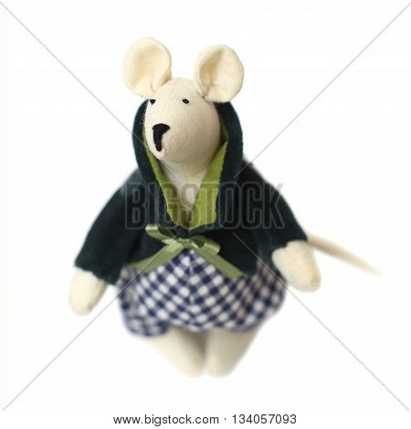 Mouse - handmade soft toy on white