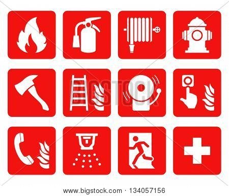 Fire emergency icons set