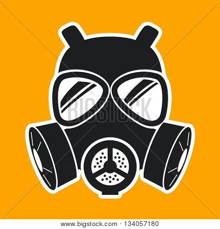 Gas mask Icon Isolated on yellow background