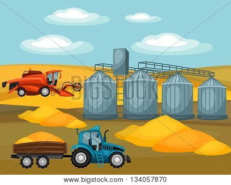 Harvesting grain. Combine harvester, tractor and granary. Agricultural illustration farm rural landscape.