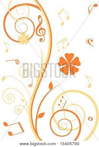 Blumen Hintergrund mit Noten