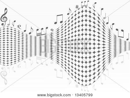 Abstrakt gepunktete Hintergrund mit Noten