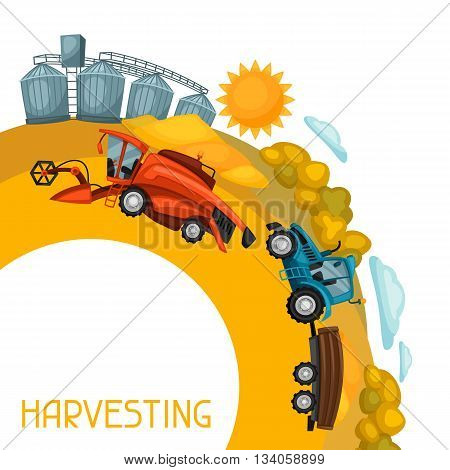 Harvesting background. Combine harvester, tractor and granary on wheat field. Agricultural illustration farm rural landscape.