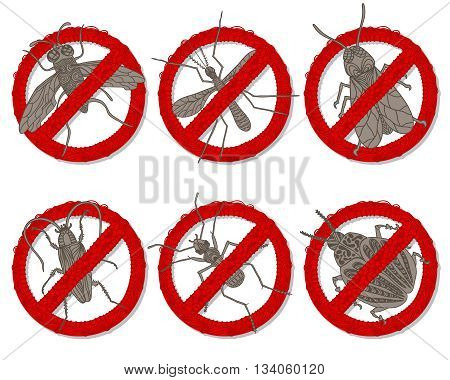 Hand drawn beetles set. Banned insects for design icons logo print or else. Mosquito wasp colorado beetle fly ant and cockroach. Vector illustration.