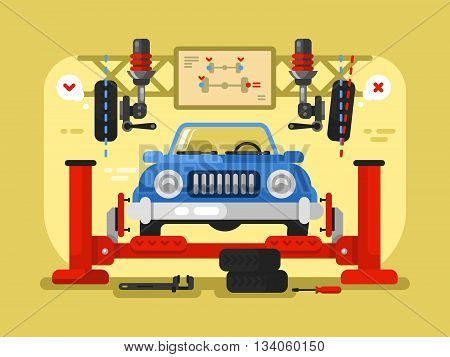 Suspension car design flat. Auto repair service, station maintenance and automotive diagnostic, vector illustration
