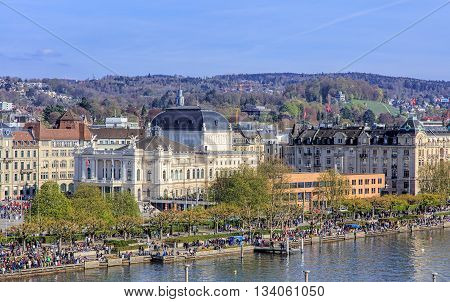 Zurich, Switzerland - 10 April, 2016: view on Utoquai quay from a Ferris wheel temporarily installed on Burkliplatz square. Zurich is the largest city in Switzerland and the capital of the Swiss canton of Zurich.