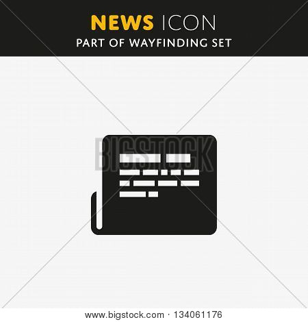 Vector news Icon flat style. Journal sign. Information symbol.