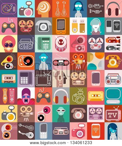 Art collage of various flat vector images with a electronics theme.