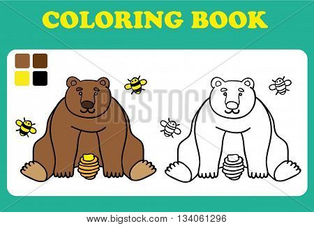 Vector illustration cute bear with bees and honey card concept white background coloring book for children coloring book pages