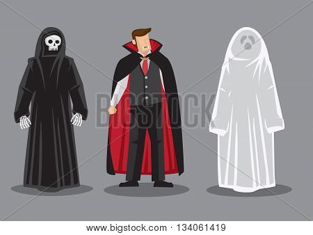 Cartoon vector illustration of three fantasy horror characters death dracula and white ghost isolated on grey background.