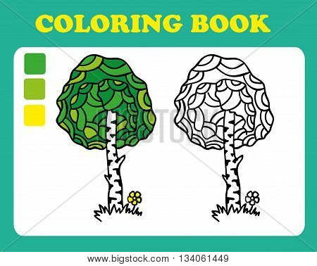 Coloring Book or Page Cartoon Illustration of birch. Coloring book for children, coloring book pages