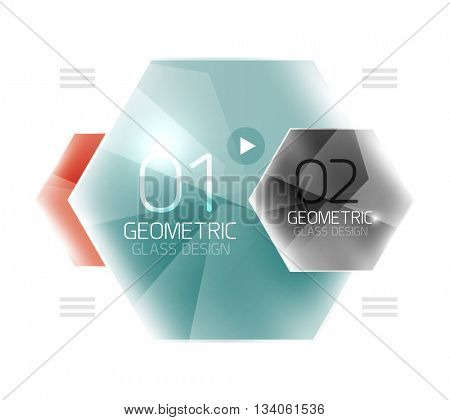 Glass color hexagons. Glossy plastic hexagon design with text
