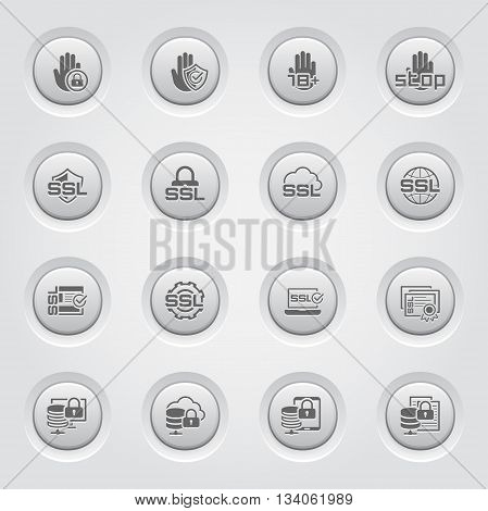 Button Design Security and Protection Icons Set