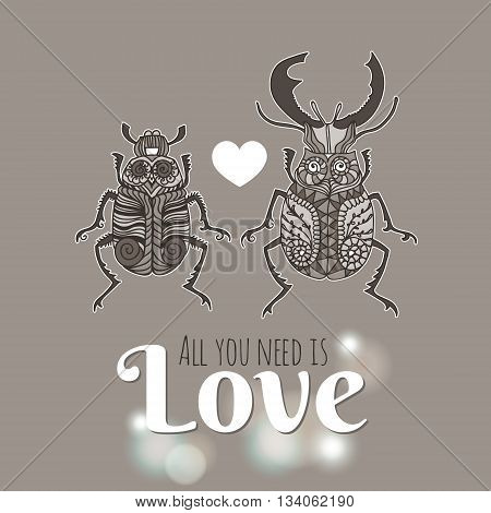 Stag Beetles in love. Insects for design icons logo print or else. Vector illustration with place for text.