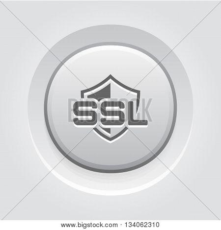 SSL Protection Icon. Flat Design Grey Button Design
