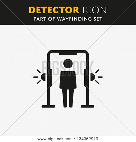 Airport transport security. Metal detector arch, full body scanner. Alarm sign. Man symbol